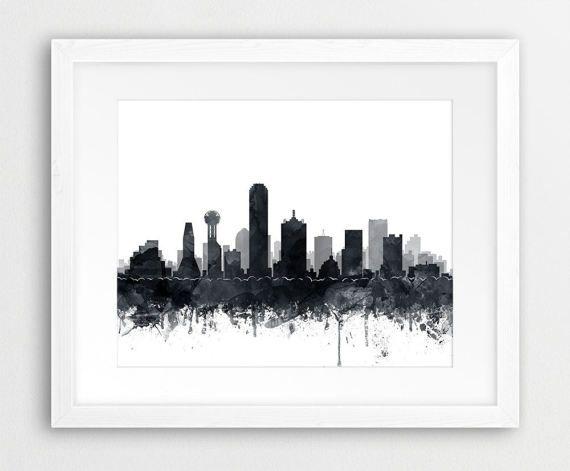 Dallas Skyline Print Texas Cityscape Dallas Watercolor Grey