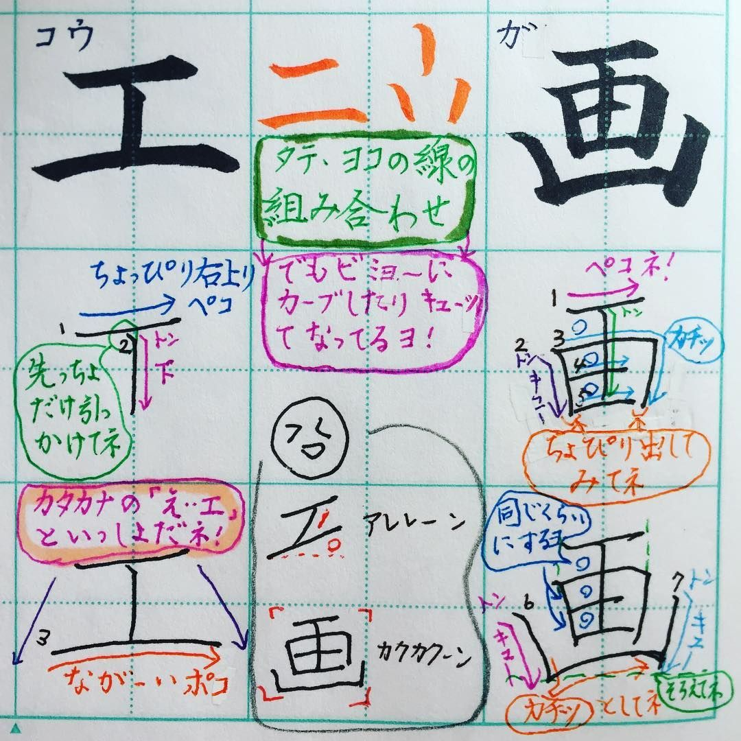 小1で習う漢字 工 画 カクカクの画 下へキューッとすると引き締まるね 自分でリズムをつくってペンを動かすよ 参考までに ᵔᴥᵔ 手書き 漢字 楷書体 ペン字 ボールペン 1 0 硬筆 書写 書道 実務書道 小学2年生 工 画 Japan 美