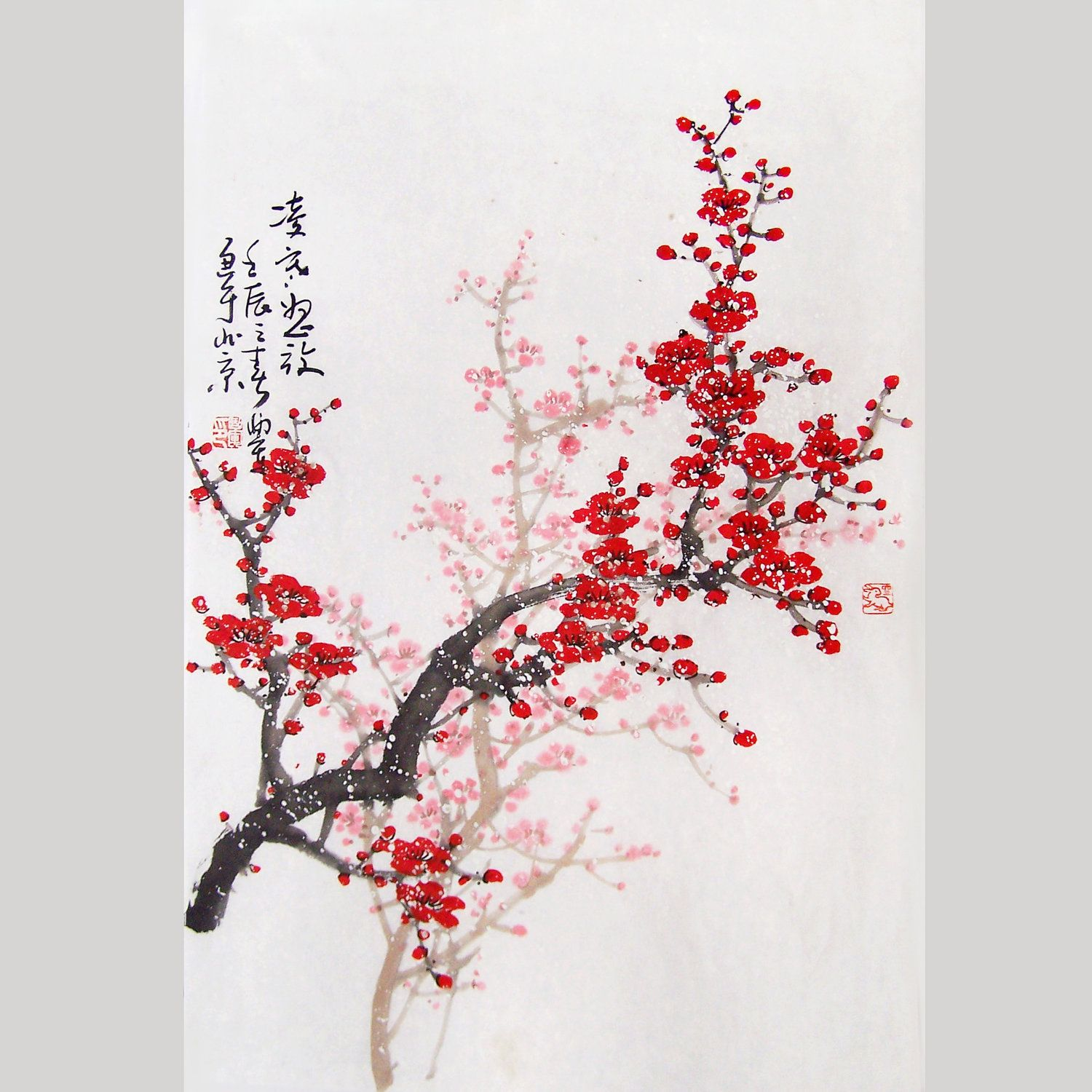 Original painting chinese art -Lovely cherry blossom tree ...