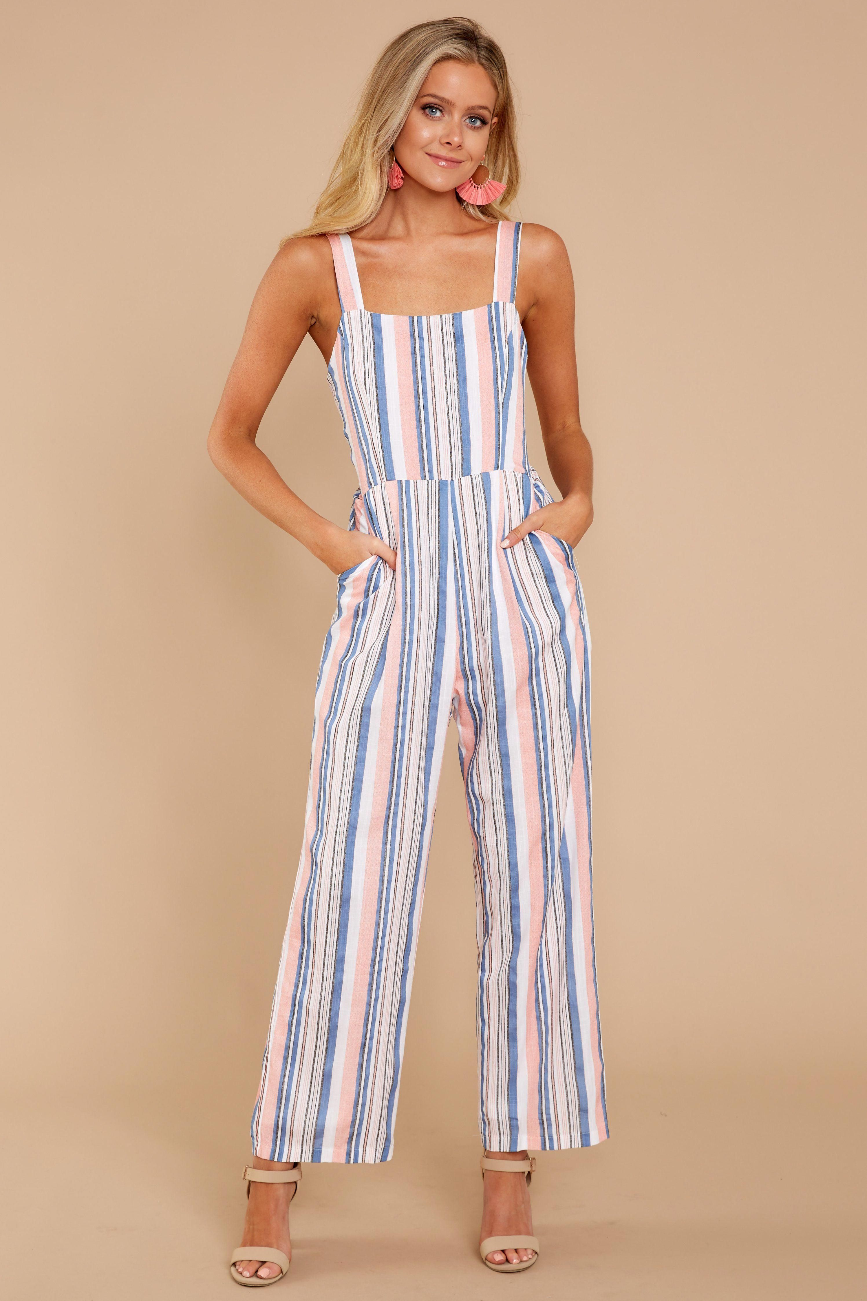 4017fca950c Trendy Pink Multi Striped Jumpsuit - Cute Striped Jumpsuit - Jumpsuit -   46.00 – Red Dress Boutique