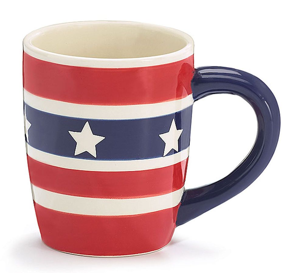New Patriotic Coffee Mug Cup Ceramic Red White Blue Stars And Stripes Burton Gift