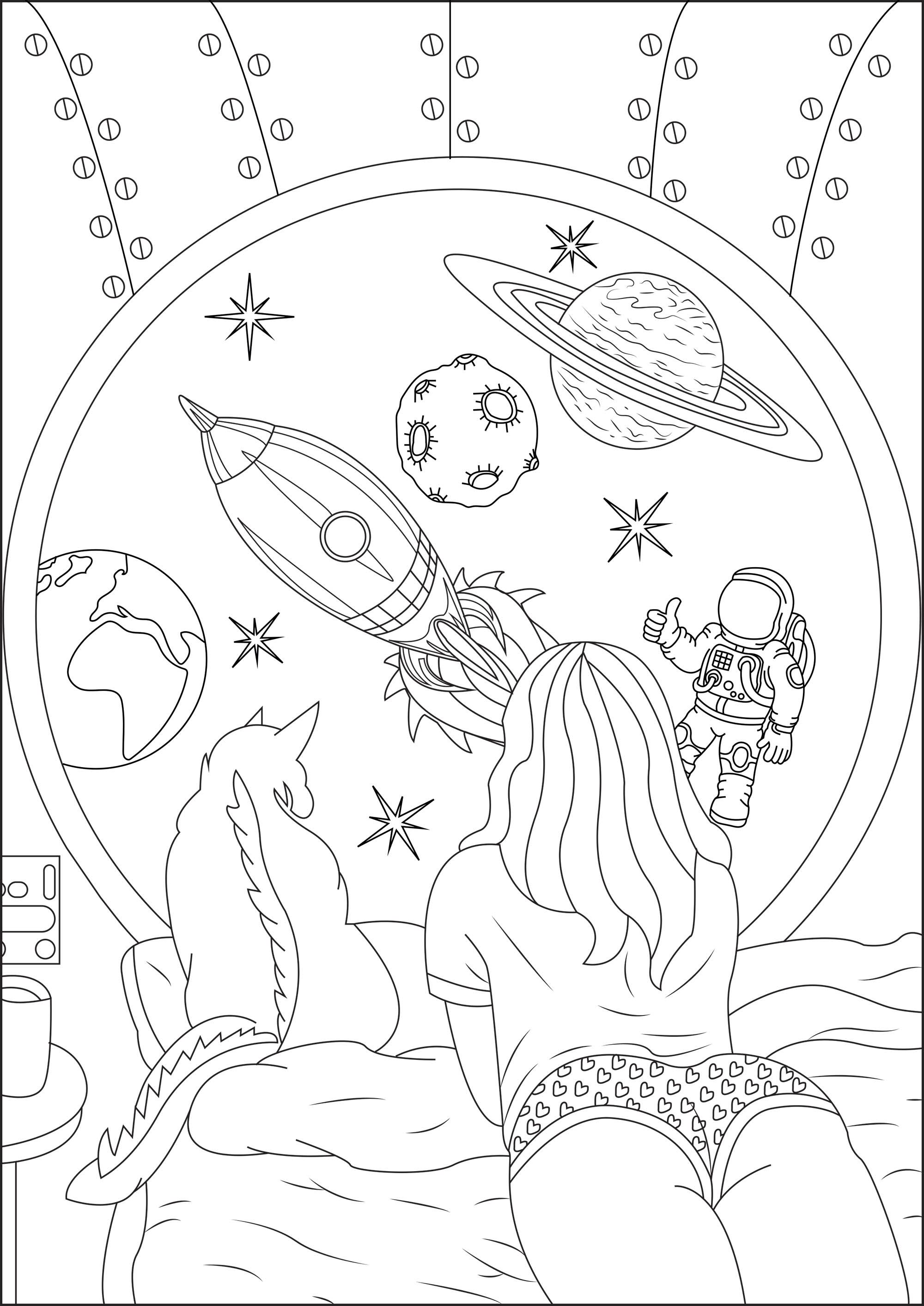 Omeletozeu Space Coloring Pages Cute Coloring Pages Detailed Coloring Pages