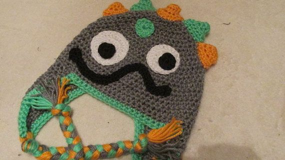 Baby Monster Hat Crochet Monster Hat by TheFlyButterFactory