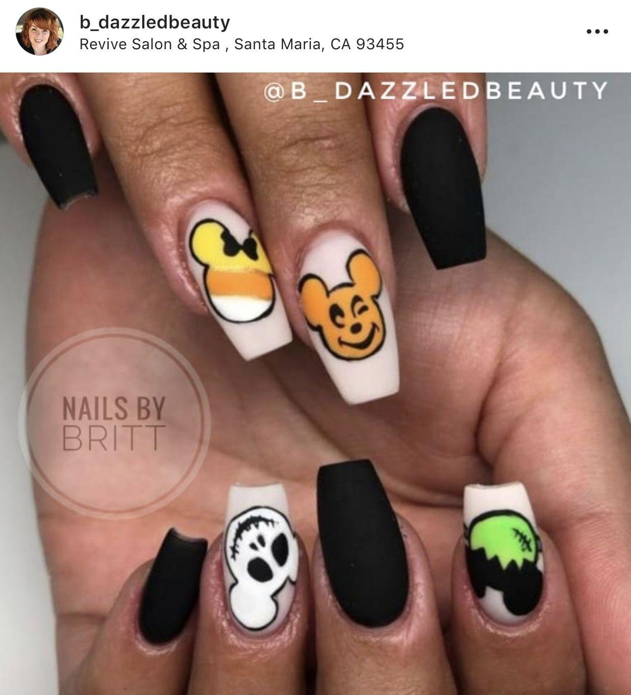 Disney Halloween Halloween Nails Halloween Nail Designs Disney Acrylic Nails