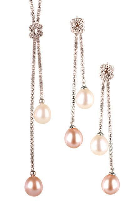 7.5-8mm White & Pink Freshwater Pearl Dangling Necklace & Earrings Set