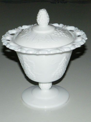 Vtg Indiana Colony Harvest Grape Milk Glass Lace Edge Covered Candy Dish Compote Ebay