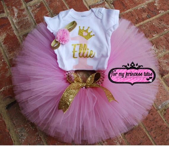 49913b663fae First Birthday pink tutu with gold bow and white onesie with ONE in pink  and Crown