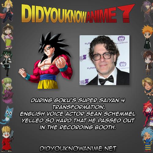 During Goku S Super Saiyan 4 Transformation English Voice Actor Sean Schemmel Yelled So Hard That He Passed Out In Th Voice Actor Super Saiyan Recording Booth