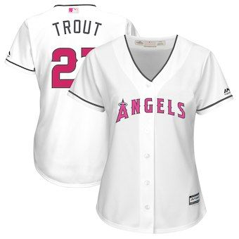 9e6daa0bf Mike Trout Los Angeles Angels Majestic Women s Mother s Day Cool Base Replica  Jersey - White