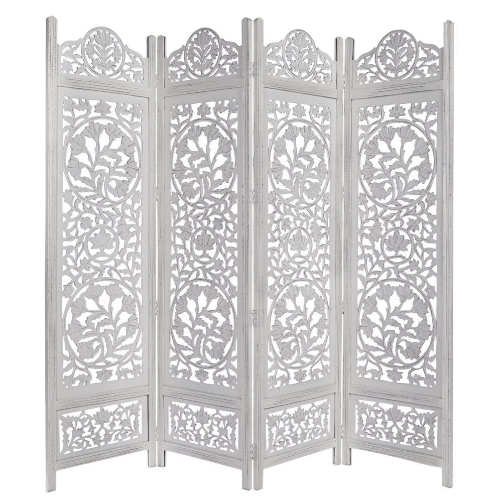 Panel handcrafted room divider screen antique whitewashed vintage
