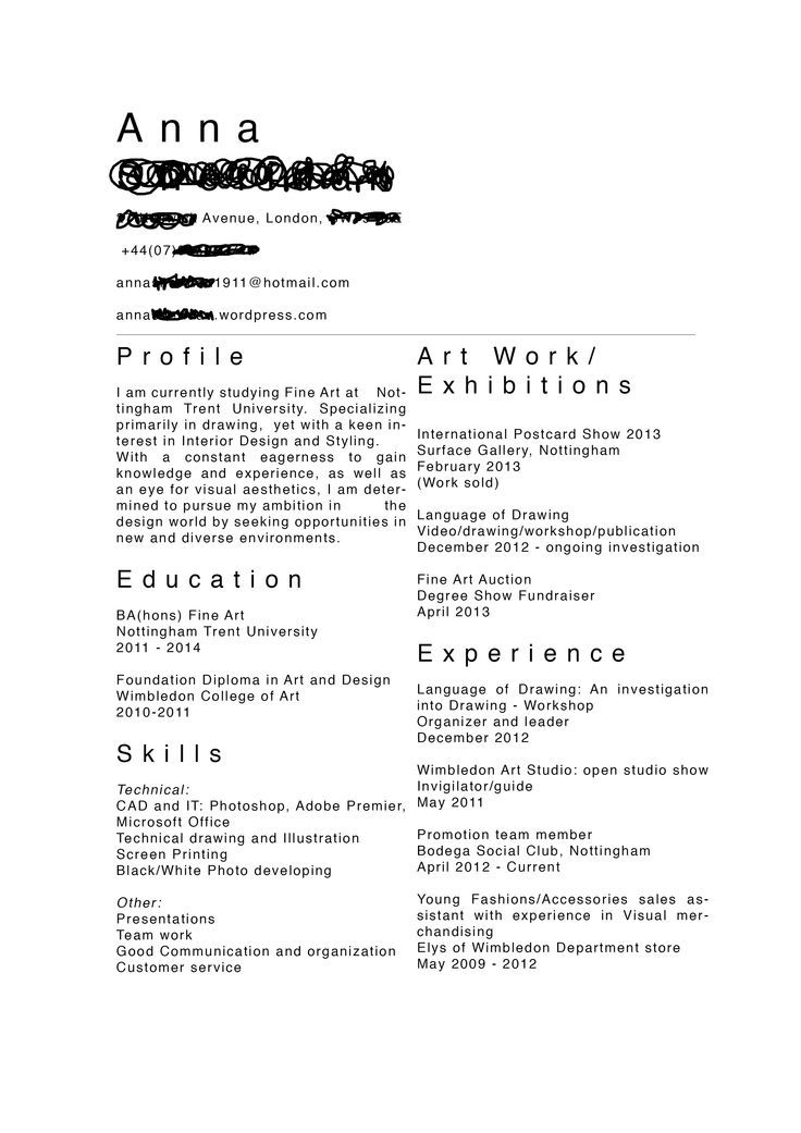 what should an artist cv look like - Google Search websres - clothing store resume
