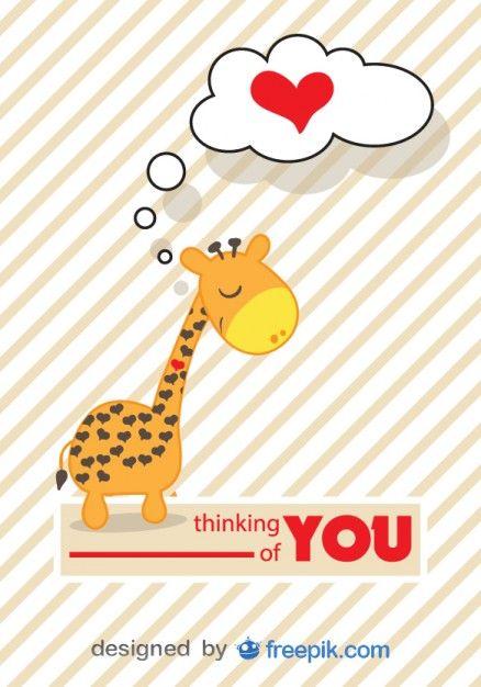 Cartao Do Vetor Girafa Dos Desenhos Animados No Amor Sol