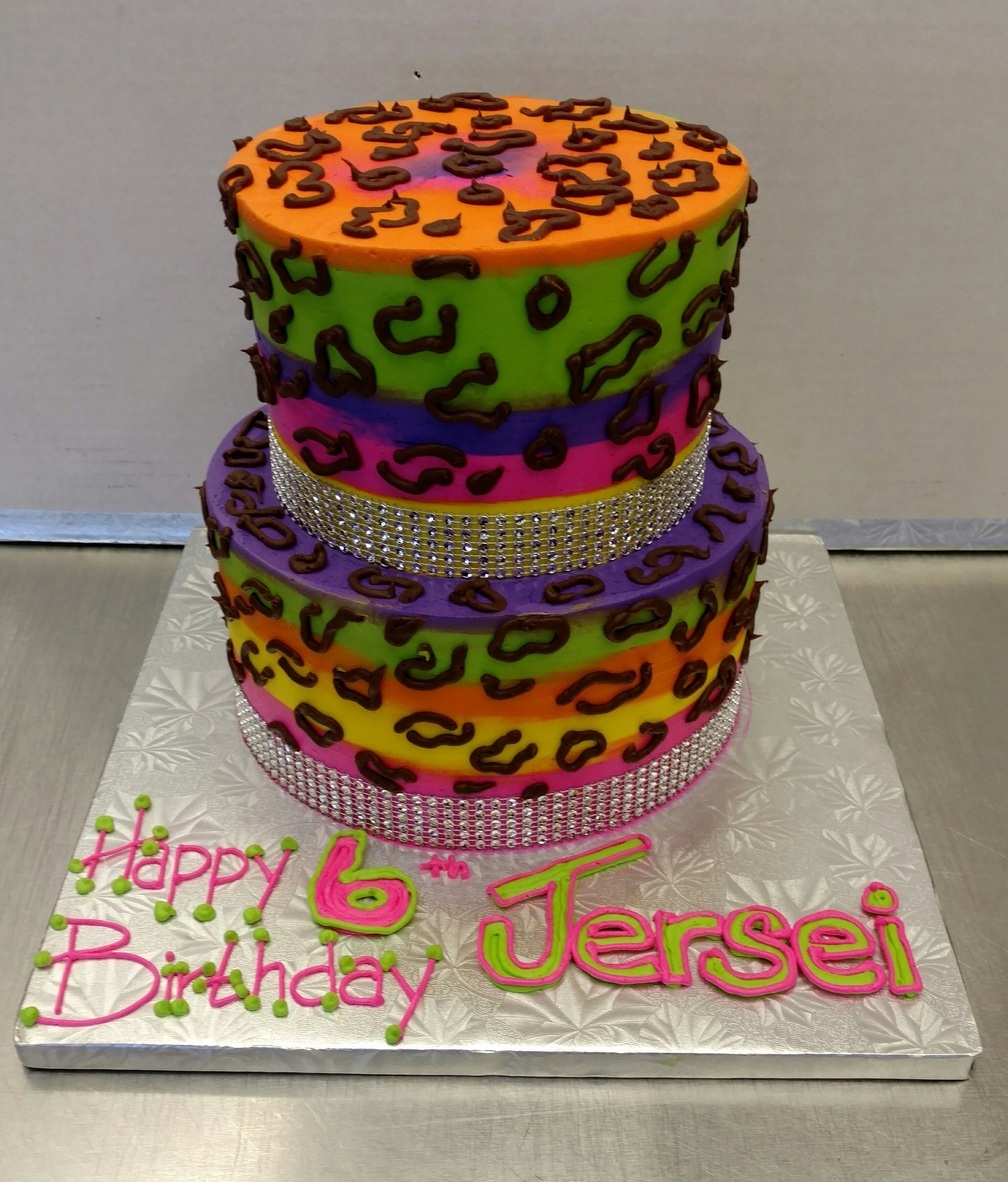 Neon Cheetah Birthday Cake Call Our European Bakery At Dierbergs