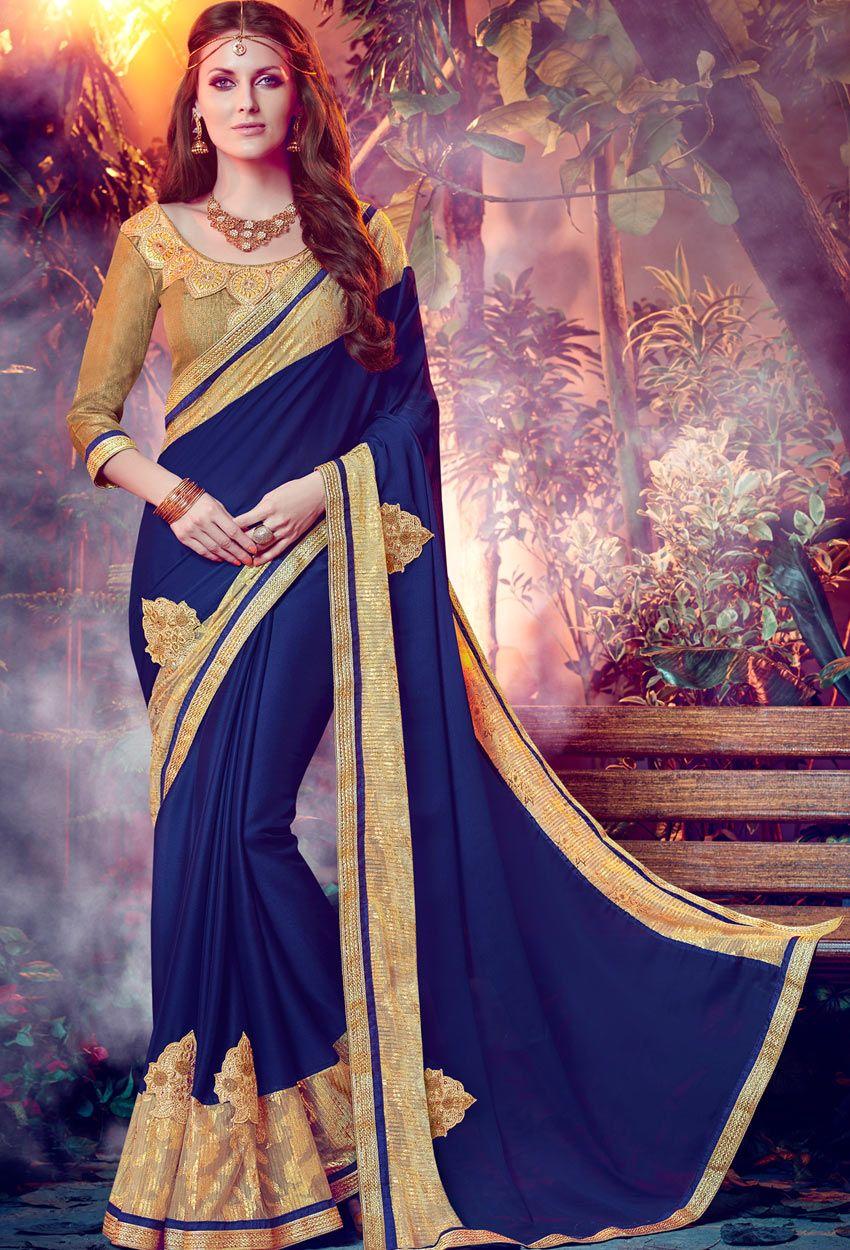 ce583f672a0 Dark Blue Chiffon Designer Saree  Saree  nikvik  usa  designer  australia   canada  weddingsaree  sari  stylish  freeshipping  USA  Canada  Australia  ...