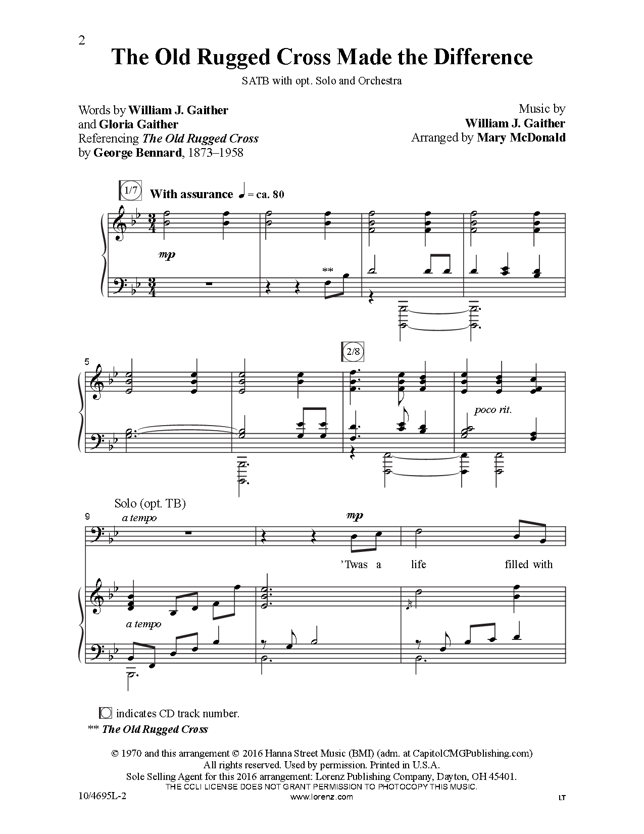 The Old Rugged Cross Made Difference Satb Nb J W Pepper Sheet Music