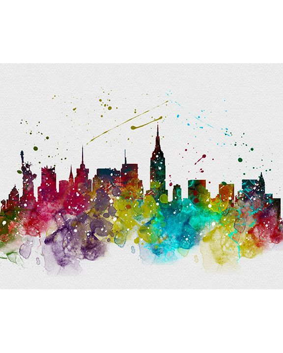 New York City Skyline 3 Watercolor Art Print en 2018 | Fotos ...