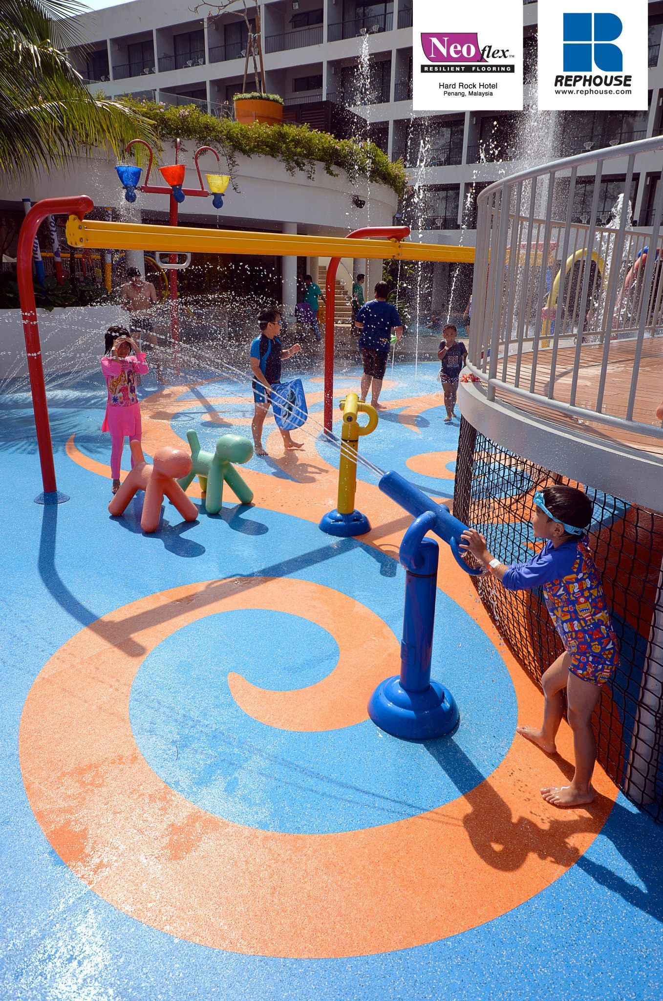 Neoflex 600 Series Pool Surround Rubber Flooring For Wet Play Area Hard Rock Hotel Penang Malaysia