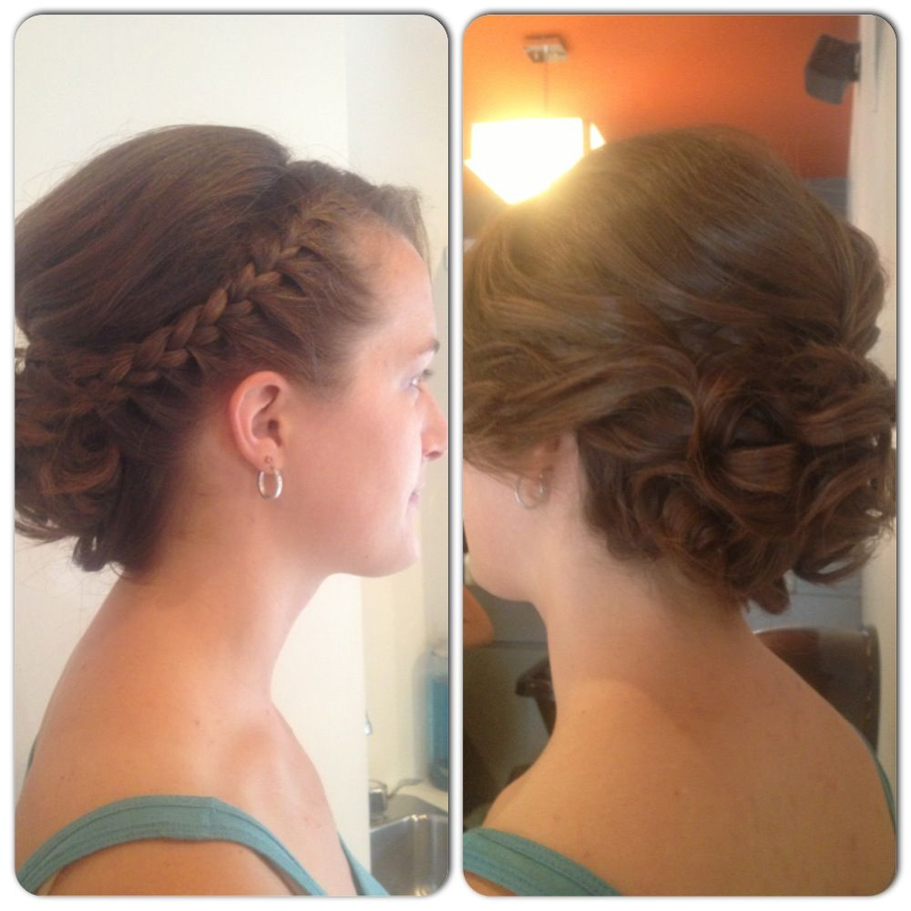 Braided bangs volume pulled back wedding formal occasion