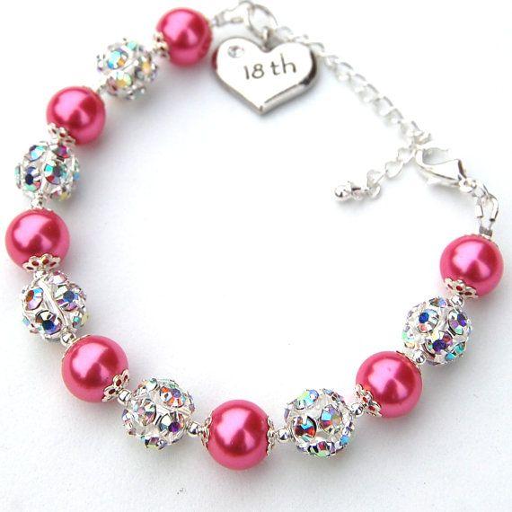 18th Birthday Charm Bracelet Pearl Rhinestone