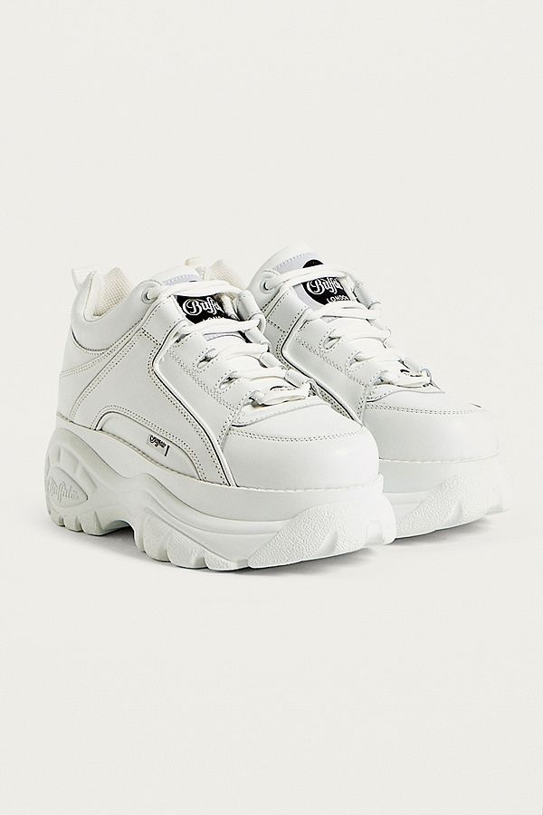 caeb71554dc7 Buffalo White Leather Chunky Platform Trainers £150 White Platform Shoes