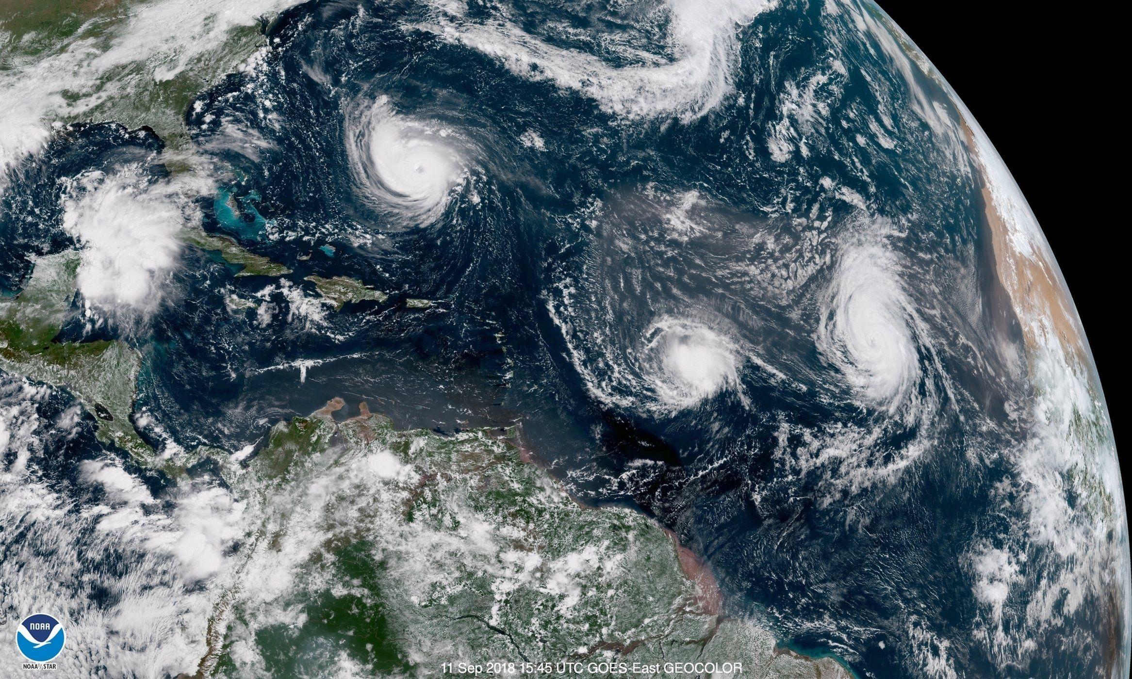 Hurricane Florence Isn T Alone 4 Powerful Storms Seen From Space In 1 Day Hurricane Season Atlantic Hurricane Hurricane