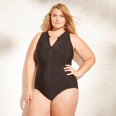 1dcde7b8e07e3 Women's Zip Front One Piece Swimsuit - Aqua Green® Black-Coral 26W ...
