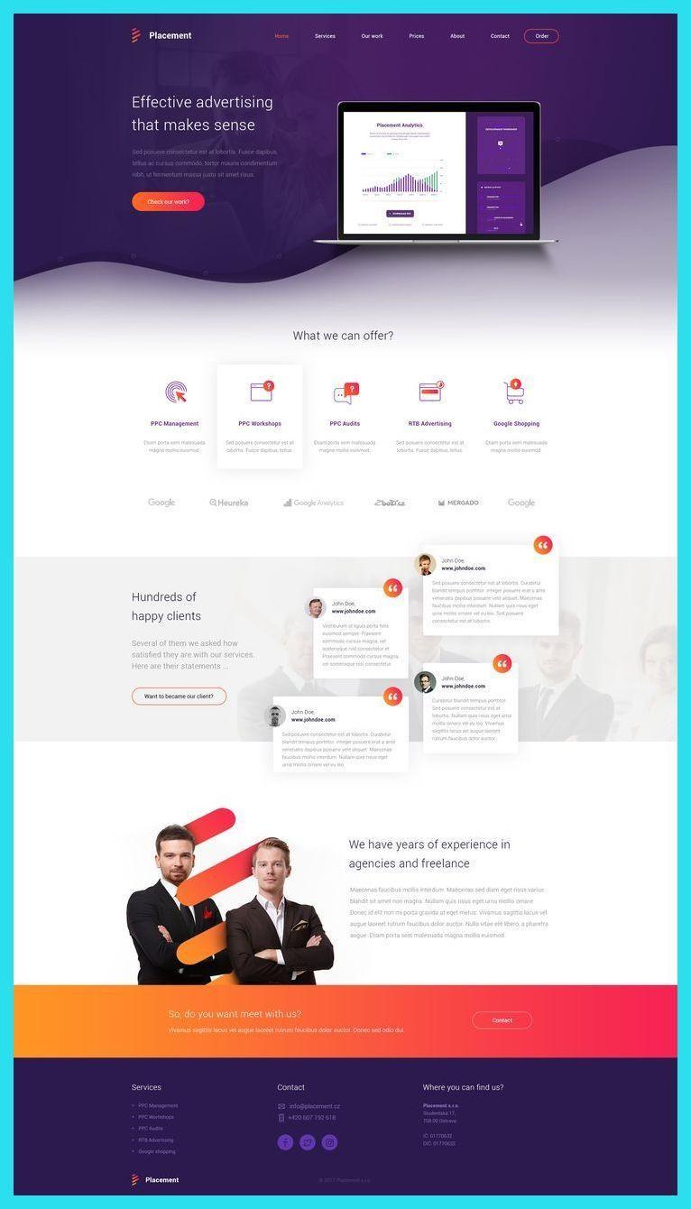 Landing Page Design Layout Responsive Website Landing Page Design Flat Landing Page De Web Design Web Layout Design Web Design Tips