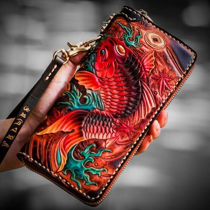 Handmade Leather Tooled Carp Mens Chain Biker Wallet Cool Leather Wallet Long Phone Wallets for Men #leatherwallets