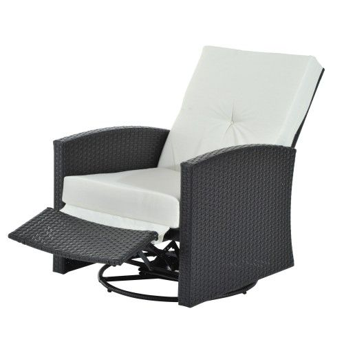 Outsunny Rattan Wicker Swivel Rocking Outdoor Recliner