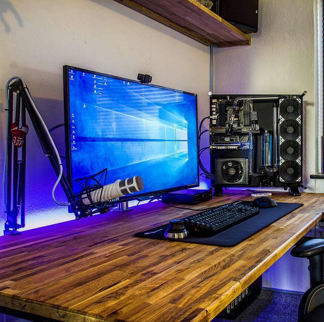 We Liked this on Instagram...@officalpcsetups: Found this setup on @modsbydonnii account. I'm a big fan of his setup. His pc looks so good. I also really like his 4k monitor and mic. That desk is really unique as well. Great minimalistic setup here. #pc #