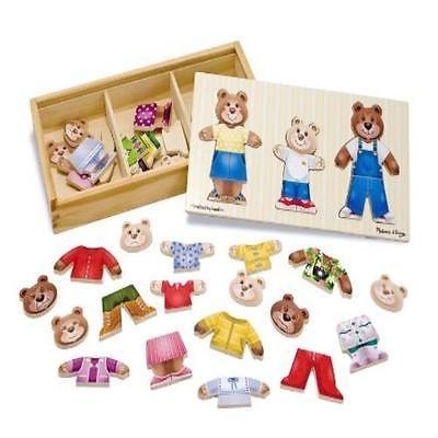 Baby Toddler Melissa & Doug Wooden Bear Family Dress-Up Puzzle Education Toys Ne