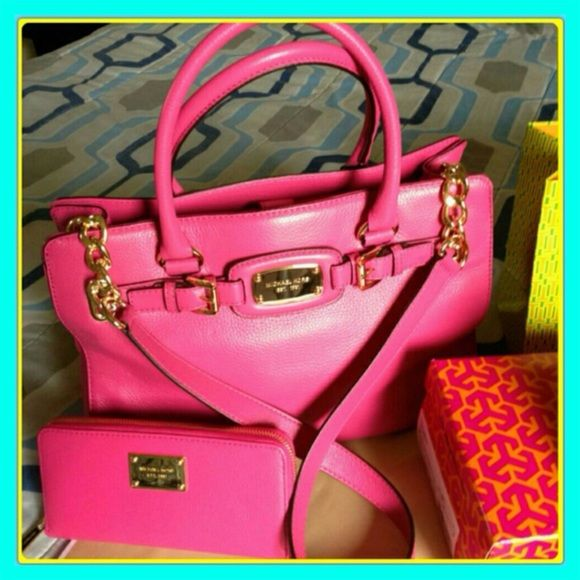 df0fd6f6ba8 MK Hamilton Set in Hot Pink Authentic Michael Kors Hamilton Bag and wallet  in hot pink. New! Never used! With tags!! In perfect condition!