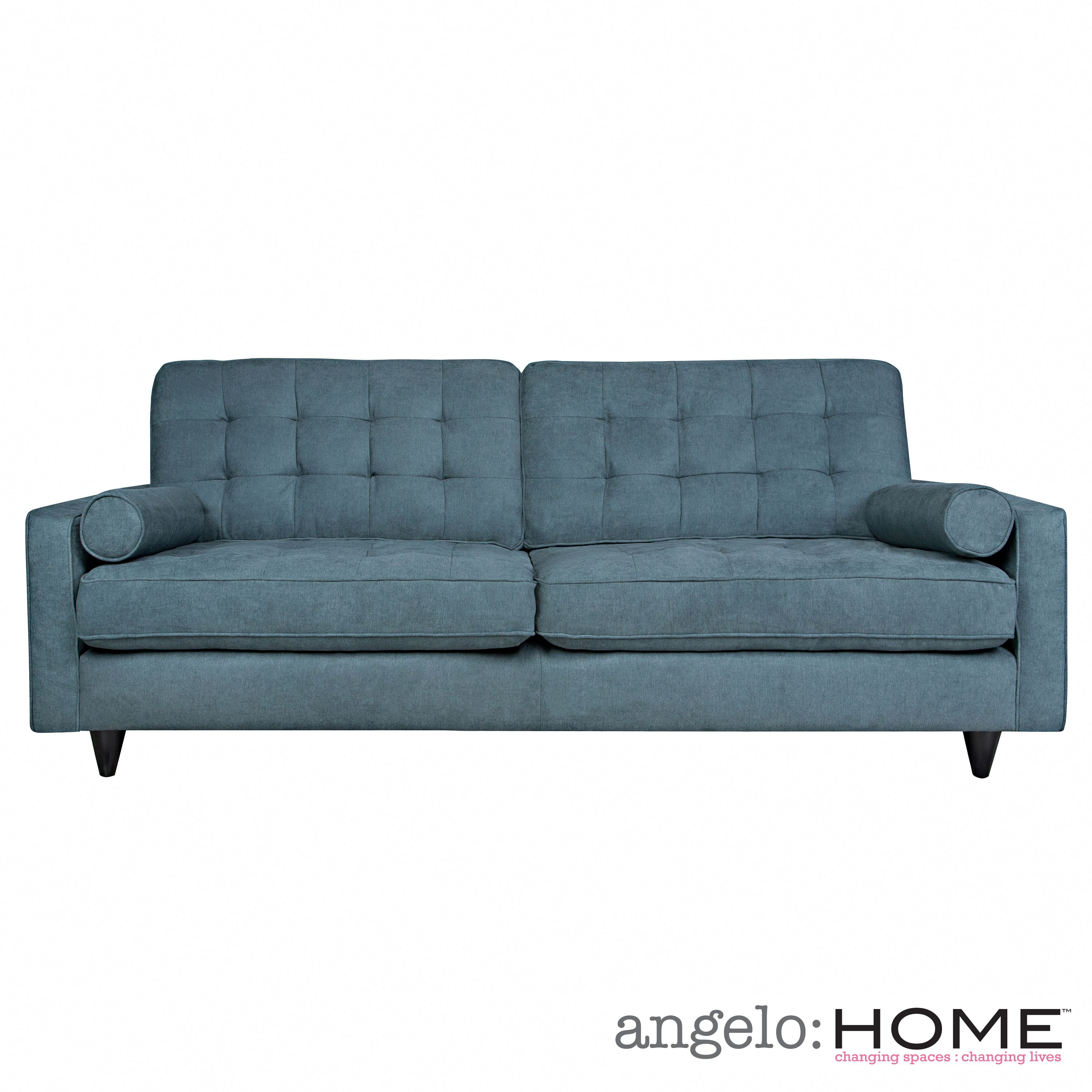 The Angelo Home Laura Sofa Was Designed By Surmelis Features A On Tufted Back And Rolled Arm Bolster Pillows
