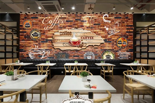 Free shipping d stereo retro wallpaper graffiti brick bar