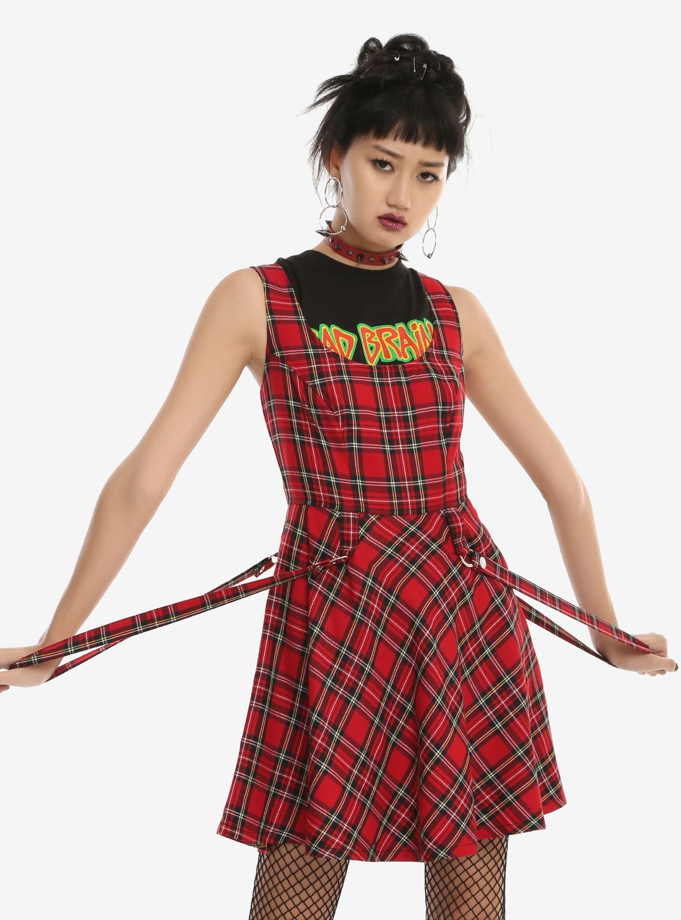 37a4d9ed73 MAD for PLAID    Tripp Red Plaid Suspender Dress Gothic Corset