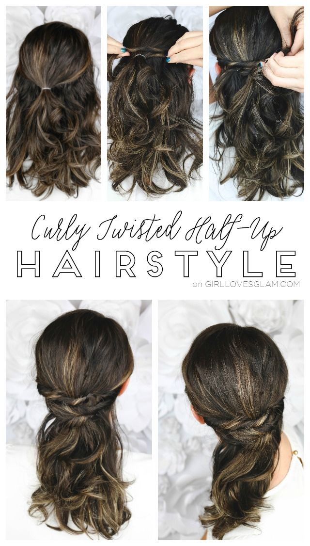 Easy Curly Twisted Half Up Hairstyle With The Conair Curl Secret 2 0 Hair Styles Up Hairstyles Curly Hair Styles