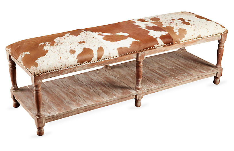 Dover Bench Whitewash 725 00 Cowhide Bench Entry Furniture Painted Coffee Tables