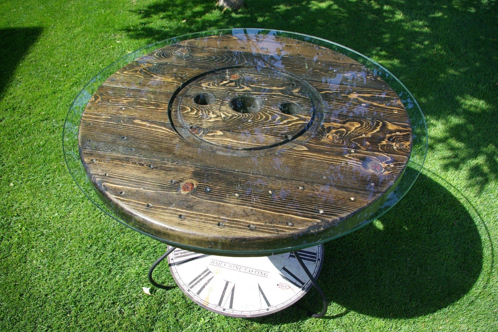 exciting cable spool kitchen table | cable spool with glass top | WIRE SPOOL KITCHEN/PATIO ...
