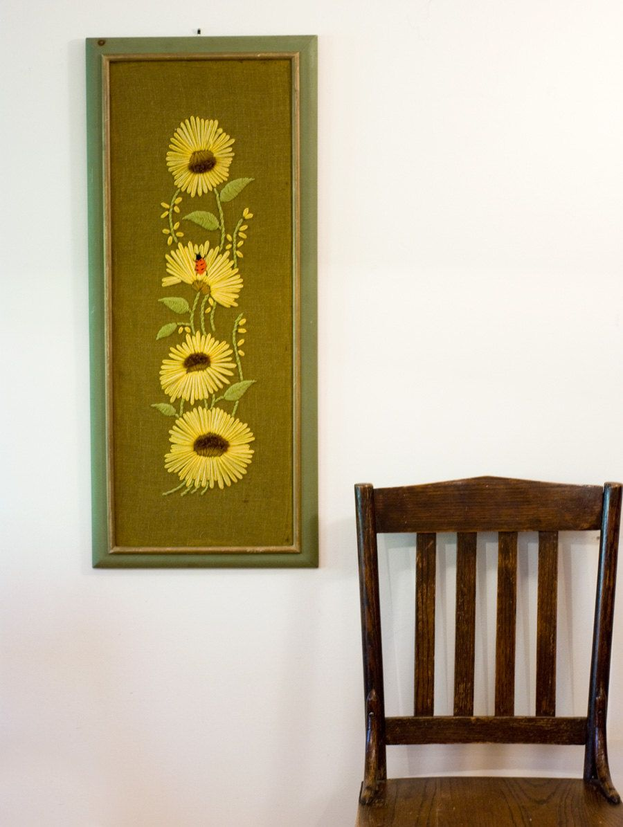 Large Vintage Crewel Embroidery Wall Art in Frame. $45.00, via Etsy ...
