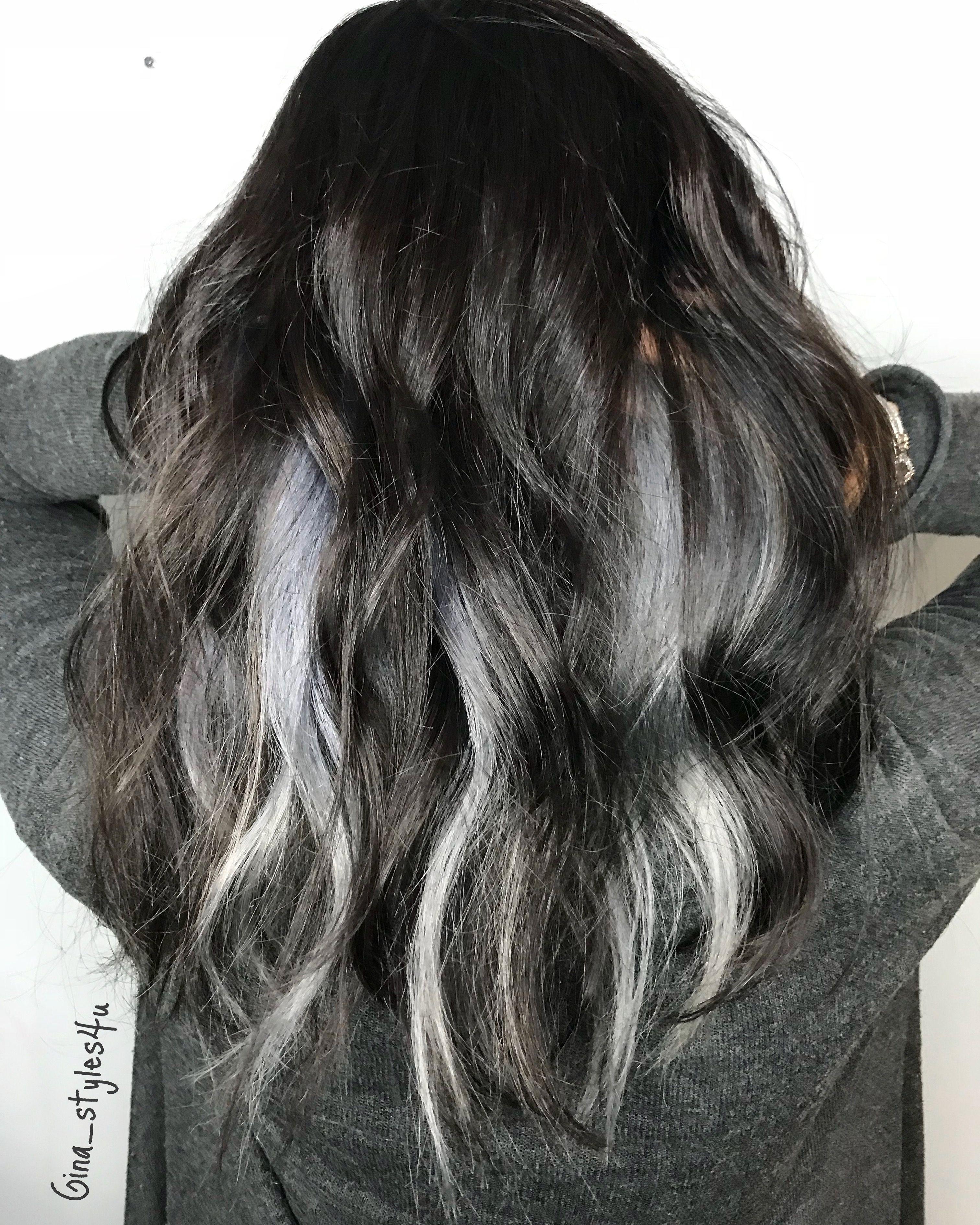 silver grey hair peekaboo highlights