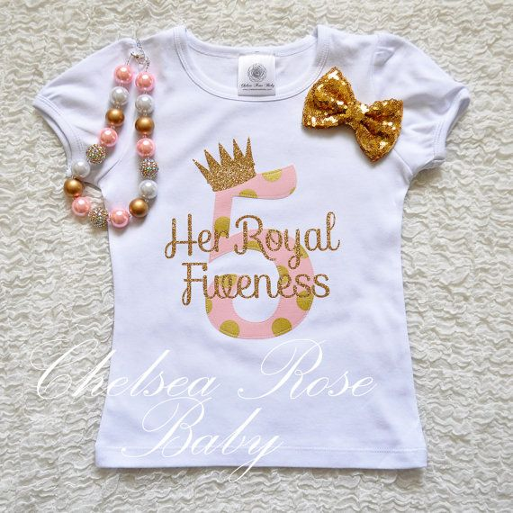 Girl Fifth Birthday Outfit 4T Pink and Gold Birthday Shirt