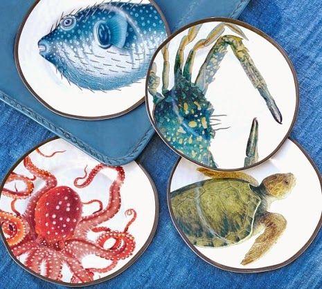 Coastal Nautical Melamine Plates Dinnerware For Outdoor Entertaining Outdoor Dinnerware Coastal Decor Plates