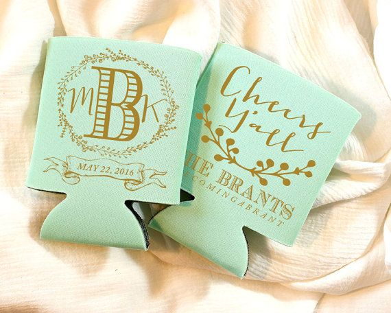 Monogram Wedding Gifts Ideas: Wedding Can Coolers, Monogrammed Can Coolers, Personalized