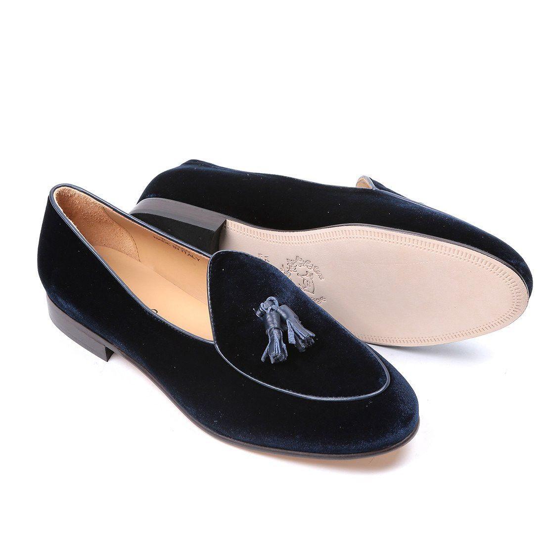 971dfa001 DEL TORO Navy Velvet Loafer with Navy Tassel. #deltoro #shoes ...