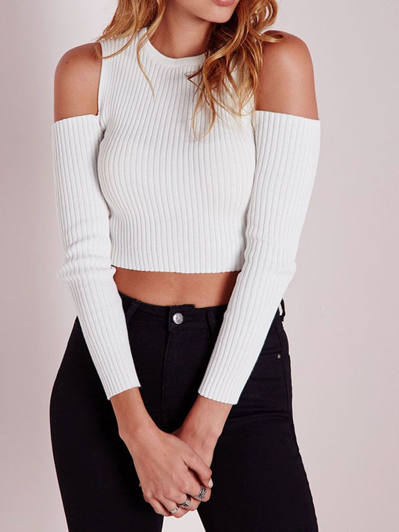 White Cold Shoulder Crop Tight Knitted Sweater - Choies.com | Cold ...
