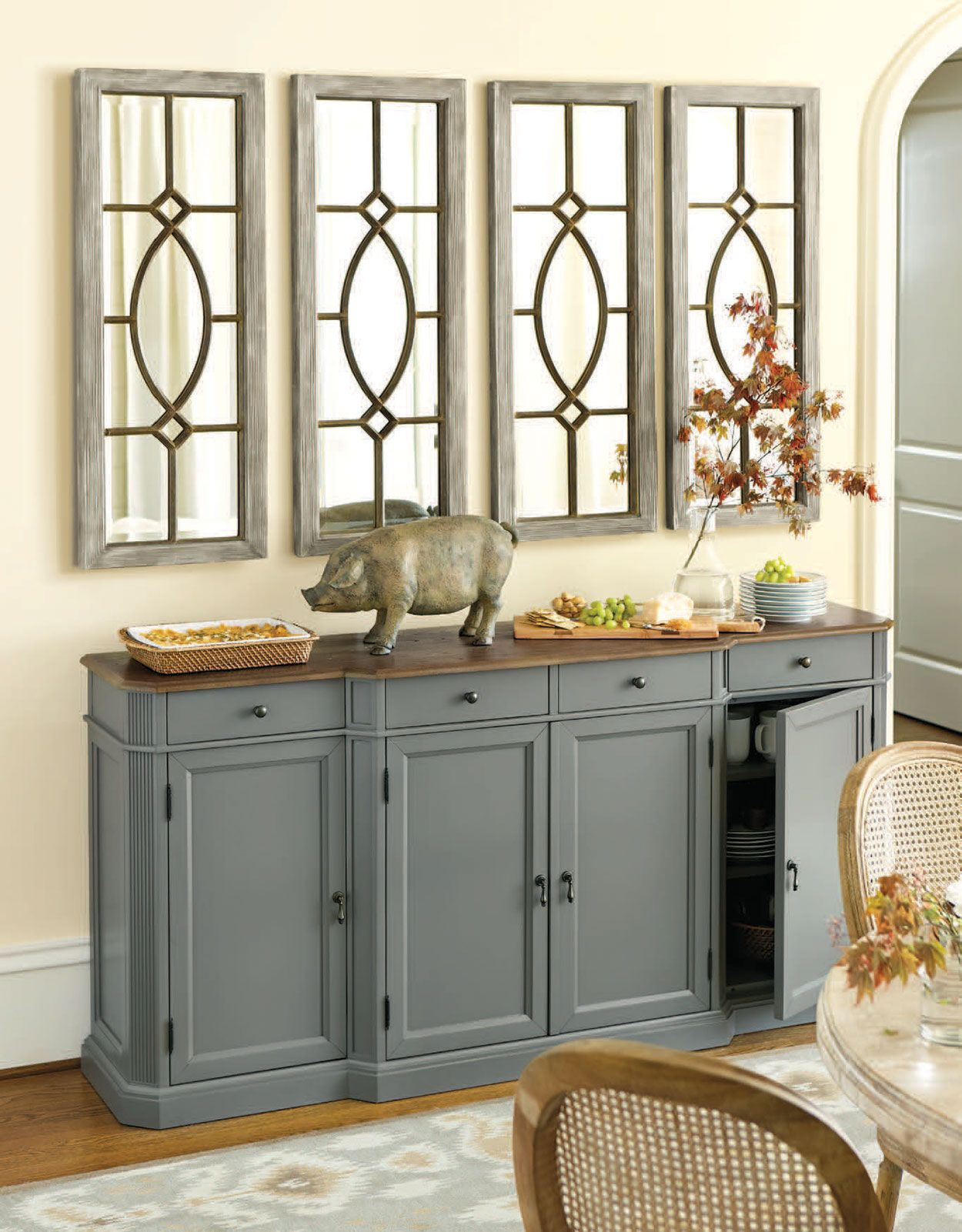 Four Of Our Garden District Mirrors Create The Feel Of A Window Over This  Dining Room Console Table.