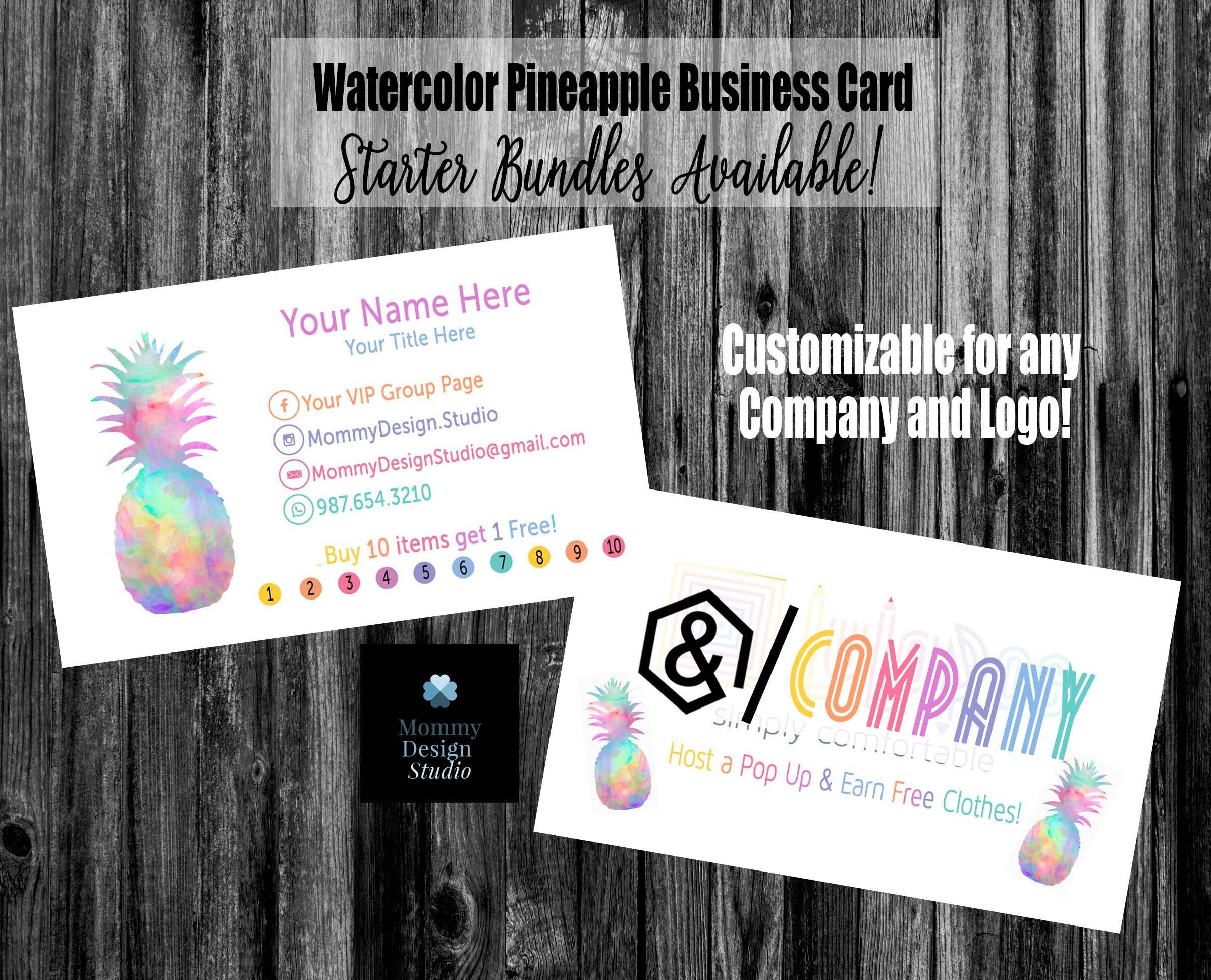 Watercolor Pineapple Business Card - Home Office Approved -Compliant ...