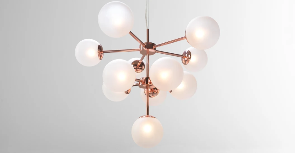 Globe Small Chandelier, Brushed Brass and Blush Pink Glass