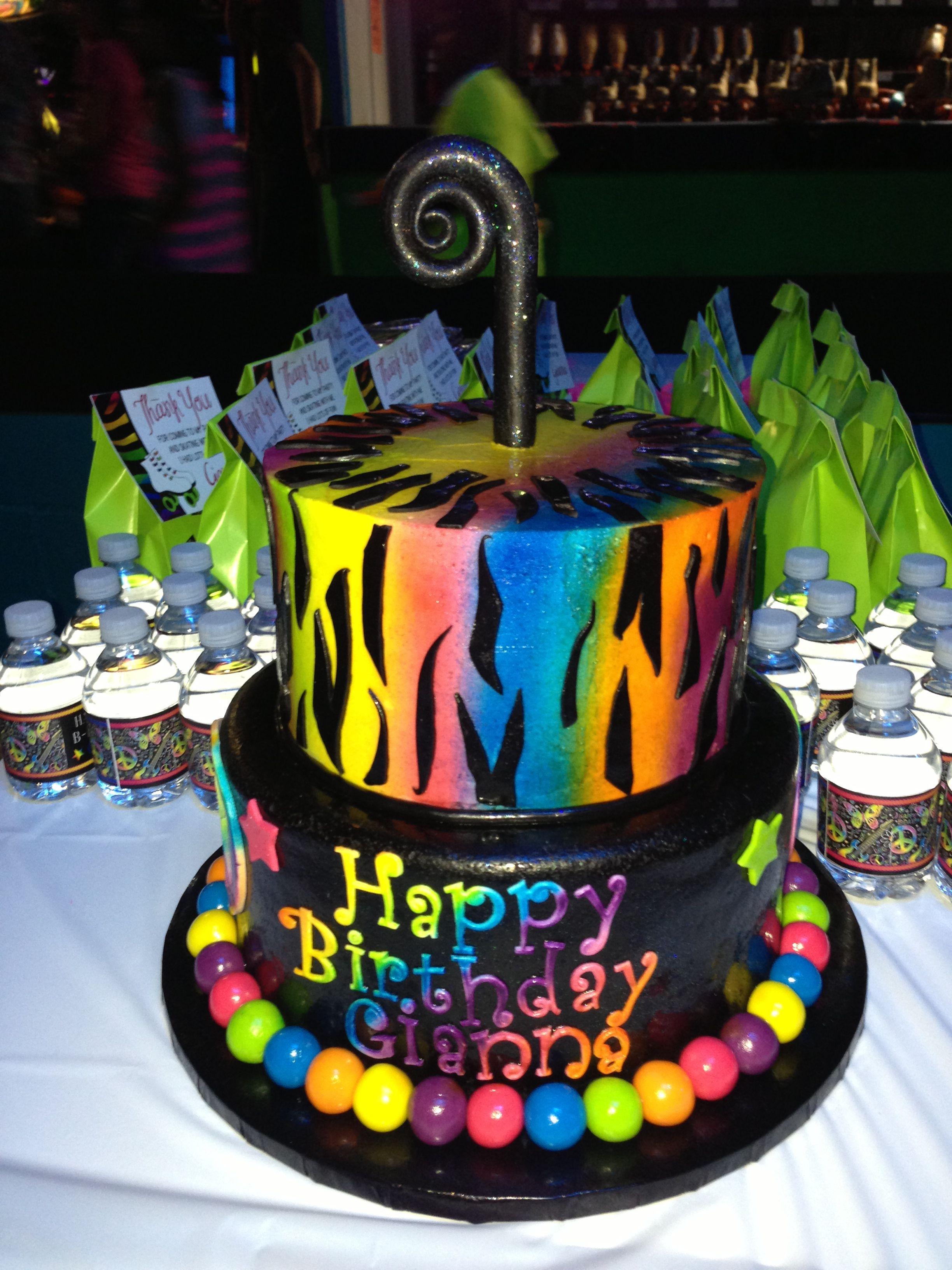 Awesome Neon Zebra Birthday Party Cake Cake Done By Cinnamon Jar Cakes Birthday Cards Printable Riciscafe Filternl