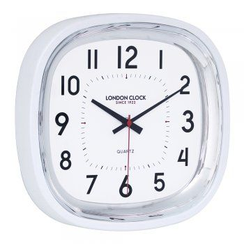 London Clock Co 30cm White Square Silent Kitchen Wall Clock - London Clock Co from The Giftery UK